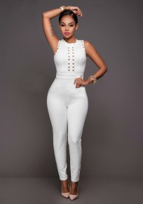 White Zipper Studded Bodycon One Piece Round Neck Fashion Long Jumpsuit
