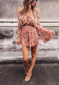 Orange Floral Drawstring Print Fashion Short Jumpsuit