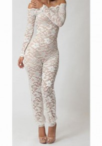 White Off shoulder Long Sleeve Lace Bodycon One Piece Party Long Jumpsuit