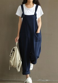 Blue Pockets Shoulder-Strap Sewing High Waisted Casual Long Jumpsuit