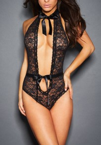 Black Patchwork Cut Out Belt Lace Drawstring Waist Lingerie Onesie Nightwear Bodysuit
