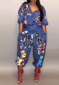 Dark Blue Monogram Print Single Breasted High Waisted Plus Size Rock And Roll Long Jumpsuit