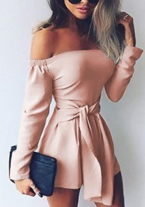 Pink Solid Sashes Pleated Off Shoulder Long Sleeve Fashion Casual Romper Short Jumpsuit