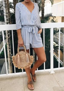 Blue Striped Sashes Pockets Fashion Short Jumpsuit