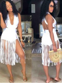 White Tassel Backless Cross Back Cut Out Deep V-neck Trendy Cocktail Party Clubwear Short Jumpsuit