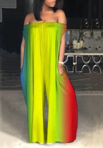 Yellow Colorful Draped Off Shoulder Backless Party Wide Leg Long Jumpsuit