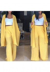 Yellow Draped Two Piece Cardigan High Waisted Wide Leg Casual Long Jumpsuit