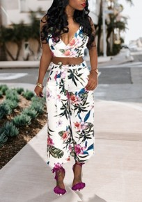White Floral Print Sashes Spaghetti Strap Halter Neck Backless Two Piece Bohemian Wide Leg Long Jumpsuit