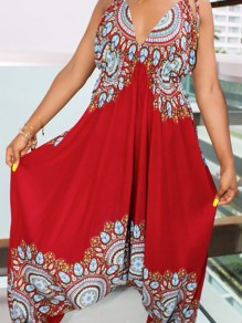 Red African Print Draped Spaghetti Strap Backless High Waisted Plus Size Bohemian Harem Long Jumpsuit