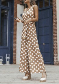 Khaki Polka Dot Sashes High Waisted Elegant Party Wide Leg Long Jumpsuit