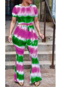 Green Color Block Print Tie Dye Sashes Two Piece High Waisted Flare Bell Bottoms Casual Long Jumpsuit