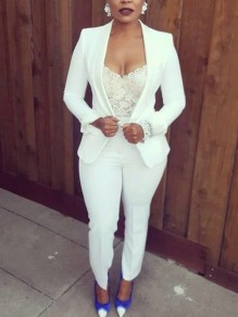 White Buttons Cardigan Top And High Waisted Fashion Office Suit Worker/Daily Long Jumpsuit