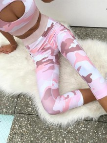Pink Camouflage Print Phone Pockets Yoga Sports High Waisted Two Piece Seven's Jumpsuit