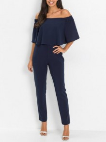 Navy Blue Ruffle Off Shoulder Backless Cocktail Bridesmaid Homecoming Party Long Jumpsuit