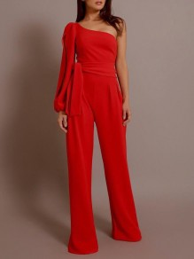 Red Cut Out Sashes One Shoulder High Waisted Long Jumpsuit