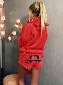 """Red Letter """"MEOW"""" Print High Waisted Cute Short Jumpsuit"""