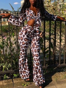 Brown Leopard Print Sashes Two Piece Bell Bottoms Deep V-neck Flare Long Jumpsuit