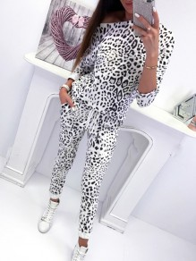 White Leopard Drawstring High Waisted Sweet Going out Party Long Jumpsuit