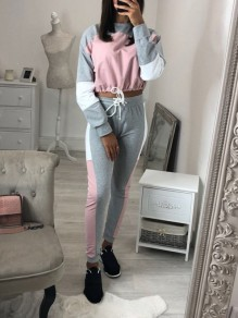 Pink Patchwork Drawstring 2-in-1 Casual Fashion Long Jumpsuit