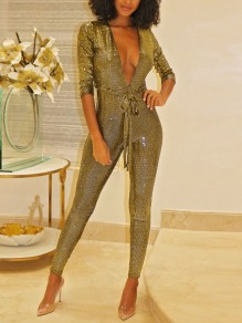 Golden Sequin Belt Bodycon Long Sleeve Deep V-neck Sparkly Glitter Birthday Party Long Jumpsuit