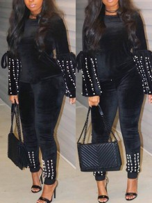 Black Pearl Two Piece Bell Sleeve Long Sleeve Round Neck Casual Long Jumpsuit