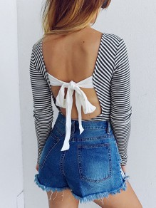 Black Striped Cut Out Tie Back Bodycon Round Neck Long Sleeve Honey Girl Playsuit