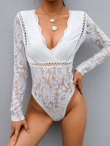 White Patchwork Lace Cut Out V-neck Long Sleeve Lingerie Onesie Nightwear Bodysuit