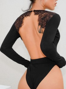 Black Patchwork Lace Cut Out Grenadine Backless Round Neck Long Sleeve Fashion Short Jumpsuit