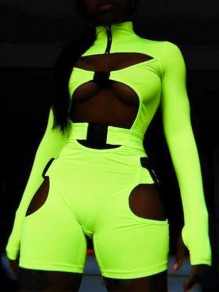 Lime Neon Green Cut Out Fluorescence Belt Buckle High Waisted Biker Romper Sport Short Jumpsuit