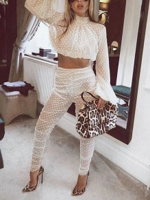 White Polka Dot Grenadine Two Piece Sheer Long Sleeve Party Long Jumpsuit