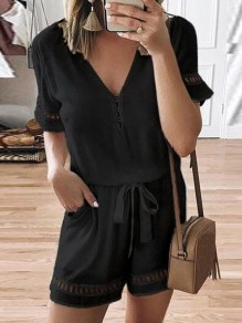 Black Drawstring Pockets V-neck Fashion Short Jumpsuit Pant
