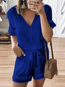 Blue Drawstring Pockets V-neck Fashion Short Jumpsuit Pant