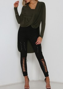 Black Patchwork Cut Out Lace-up High Waisted Long Jeans