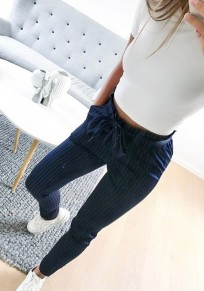 Dark Blue Striped Belt Pockets Elastic Waist High Waisted Fashion Long Pants