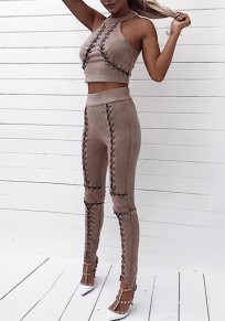 Coffee Drawstring Cut Out Elastic Waist Fashion Long Pants