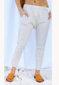 Beige Plain Pockets Drawstring Waist Casual Long Pants