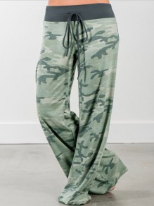 Green Camouflage Print High Waisted Wide Leg Casual Pajama Lounge Pants