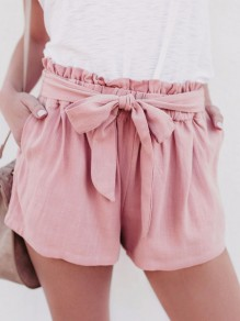 Pink Ruffle Sashes Bowknot Pockets Ruched Sweet Cute Shorts