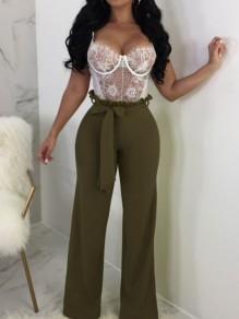 Army Green Sashes High Waisted Elegant Party Wide Leg Long Pants