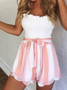 Pink-White Striped Sashes Cascading Ruffle High Waisted Going out Shorts
