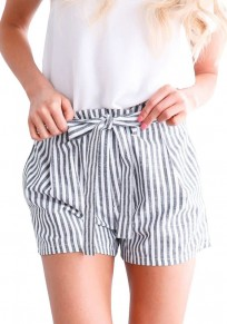Grey Striped Print Sashes Pleated High Waisted Office Worker/Daily Going out Shorts