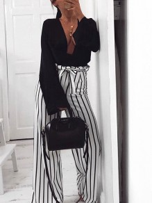 White Striped Sashes Bow High Waisted Party Wide Leg Long Pants