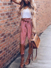 Red-White Striped Print Belt Bowknot High Waisted Casual Streetwear Fashion Nine's Pants