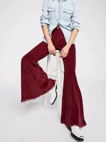 Burgundy Buttons High Waisted Bell Bottom Extreme Flare Vintage Long Pants