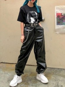 Black PU Leather Chain High Waisted Cargo Haren Casual Long Pants