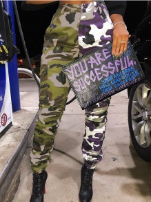 Army Green Purple Camouflage Print Buttons Pockets High Waisted Casual Long Camo Pant