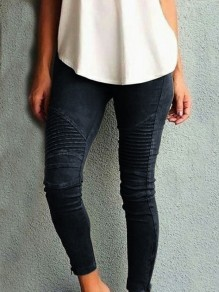 Black Pleated High Waisted Casual Long Pants
