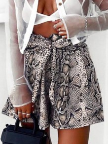 Apricot Floral Belt Ttrendy High Waisted Fashion Going out Loose Short