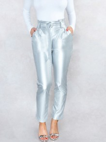 Silver Belt Pleated Pockets PU Leather Latex Bubble Vinyl High Waisted Party Long Pants