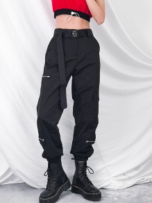 Black Zipper Pockets Belt Cut Out High Waisted Fashion Boyfriend Cargo Pants